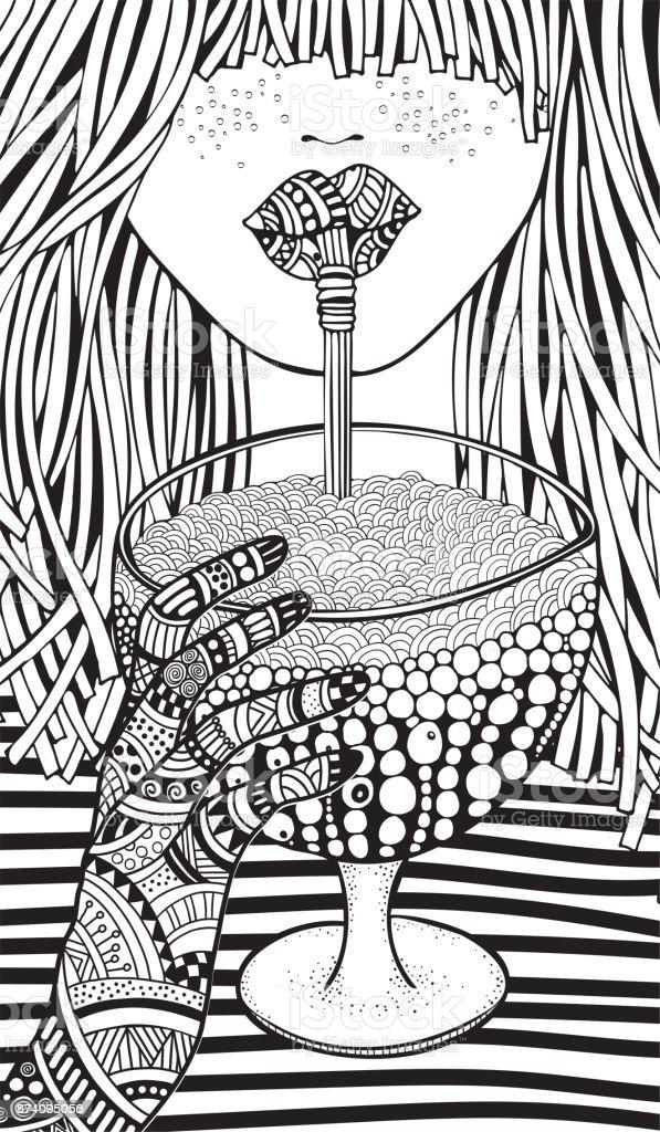 Kis Kiz Yetiskin Renklendirme Kitap Sayfasi Cizilmis Vektor Cizim