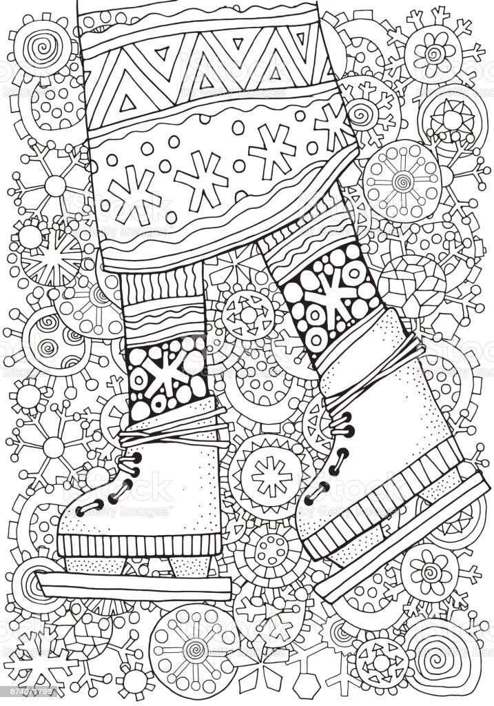 Kleurplaten Winter Voor Volwassenen.Winter Girl On Skates Winter Snowflakes Adult Coloring Book Page