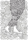 Winter girl on skates. Winter snowflakes. Adult Coloring book page.