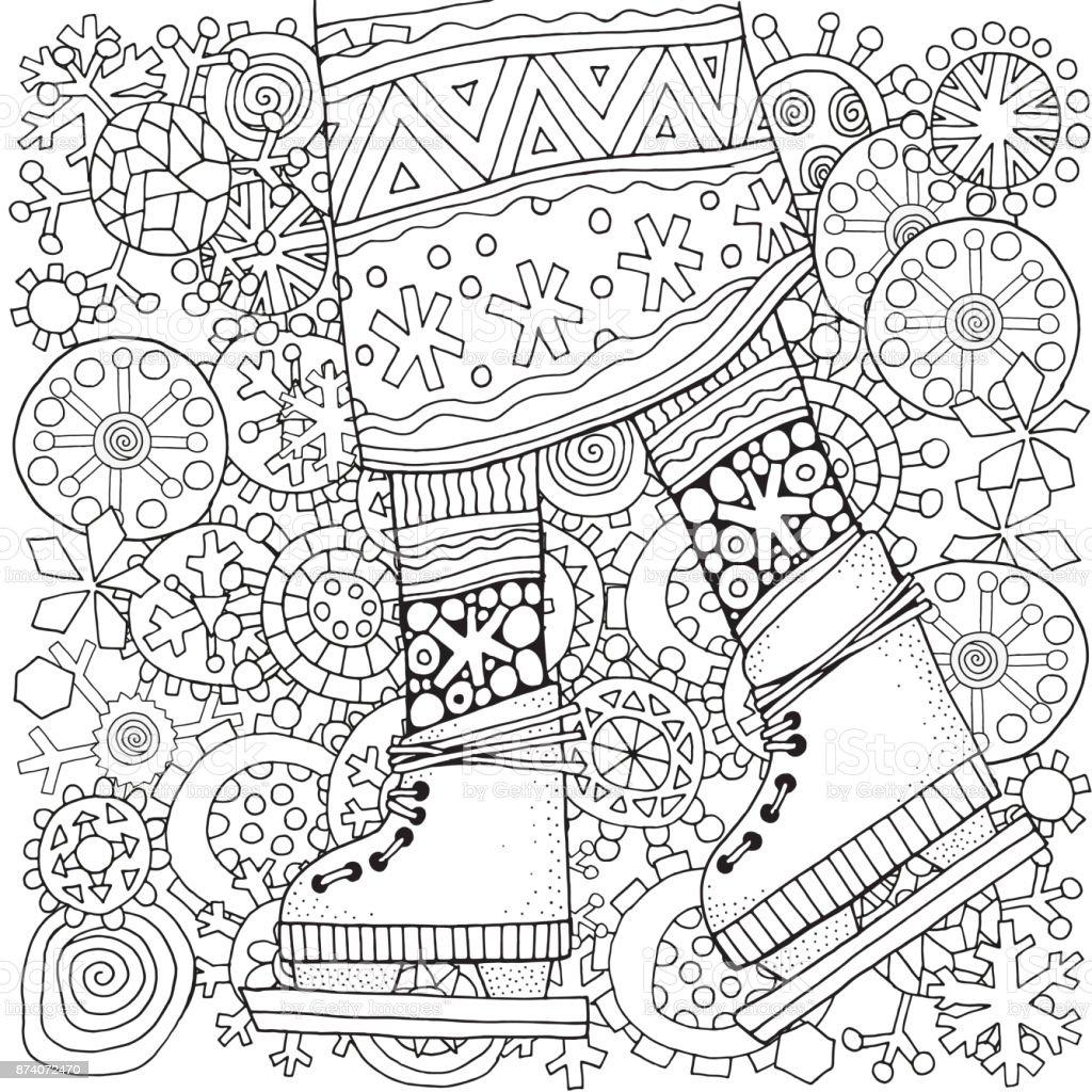 Kış Kız Paten Kış Kar Taneleri Yetişkin Renklendirme Kitap Sayfası