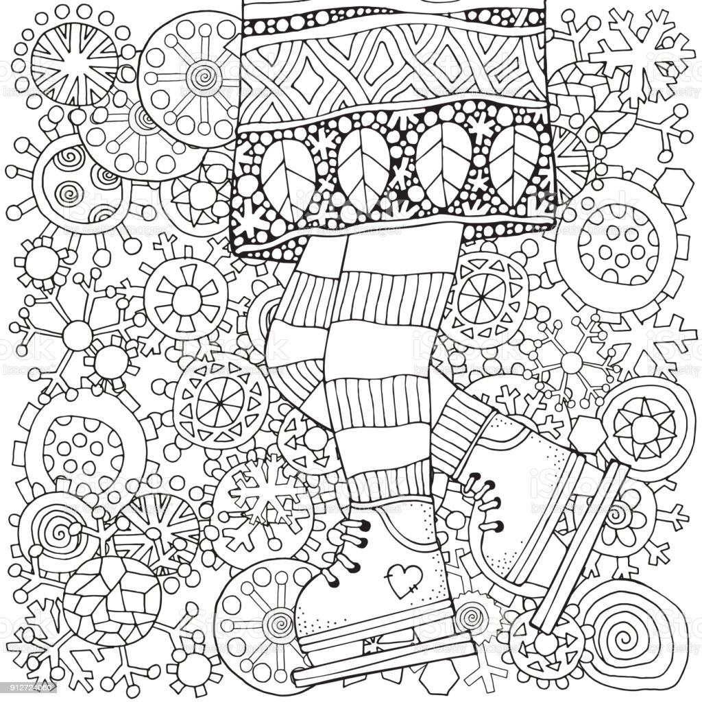 Winter Girl On Skates Snowflakes Adult Coloring Book Page Vertical Pattern For