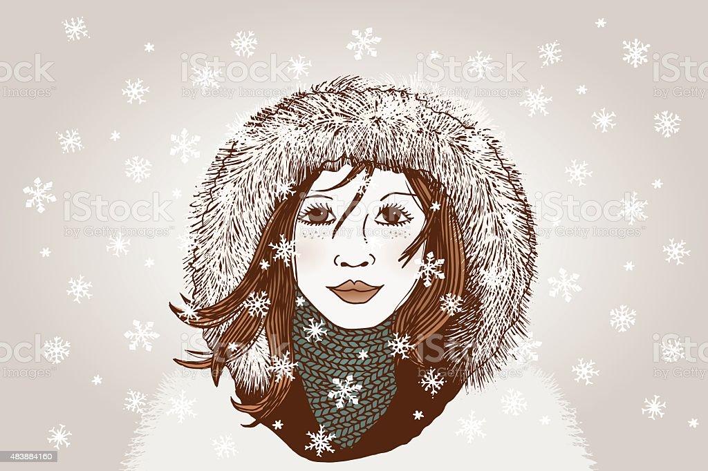 Winter girl royalty-free winter girl stock vector art & more images of 2015