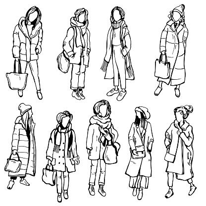 Winter girls . Vector sketch illustration.