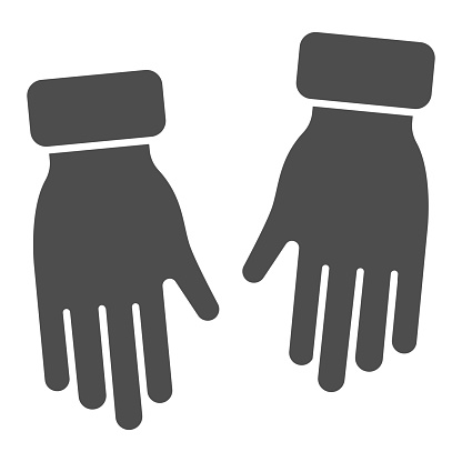Winter gloves solid icon, Winter clothes concept, Winter glove sign on white background, pair of warm gloves icon in glyph style for mobile and web design. Vector graphics.