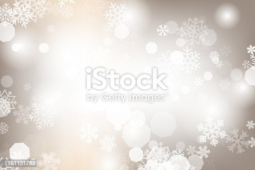 Winter glowing background. Vector holiday banner with lights, bokeh and snowflakes. Seasonal soft backdrop.