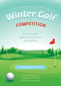 Winter golf competition poster invite. Global colors and on separate layers.