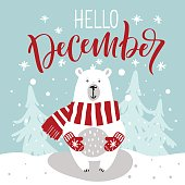 """Winter greeting card with cute hand drawn polar bear. Hand drawn lettering phrase """"Hello, December""""."""
