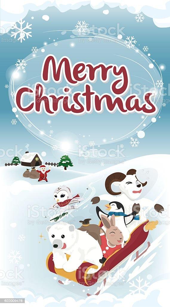 Winter greeting Merry Christmas card long version vector art illustration