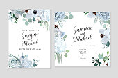 Winter grey and green jade color vector design cards. Echeveria succulent, anemone, hydrangea, cotton, brunia, rose, eucalyptus, greenery. Trendy pastel wedding frames collection.Isolated and editable
