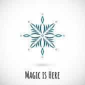 Winter hand draw blue snowflake icon, vector doodle design.