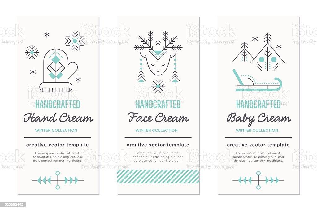 Winter handcrafted cosmetics design kit vector art illustration