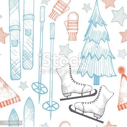 istock Winter hand-drawn vector seamless pattern. 1224304273