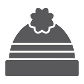 Winter hat glyph icon, clothing and warm, cap sign, vector graphics, a solid pattern on a white background.