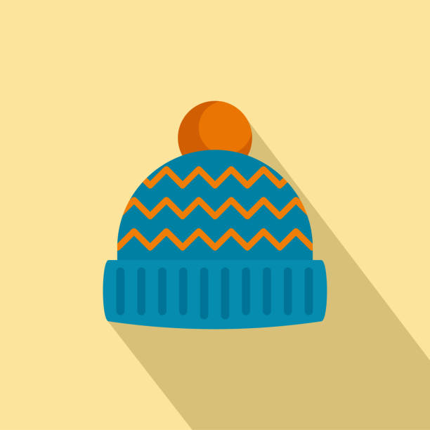 Winter hat icon, flat style Winter hat icon. Flat illustration of winter hat vector icon for web design knit hat stock illustrations