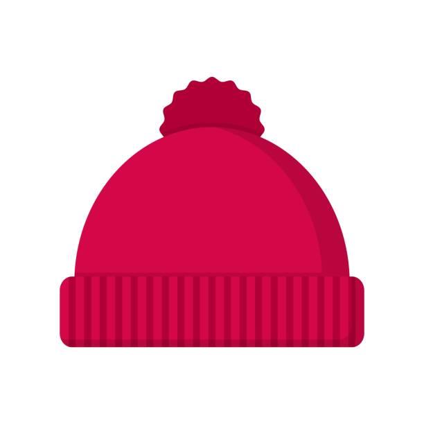 illustrazioni stock, clip art, cartoni animati e icone di tendenza di winter hat icon in flat style isolated on white background - negozio sci