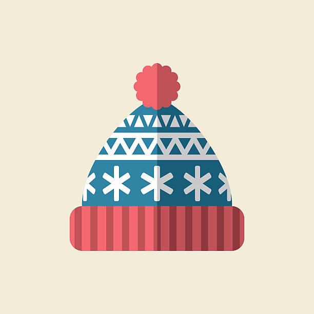 Winter Hat Icon Flat vector illustration of knit hat. knit hat stock illustrations