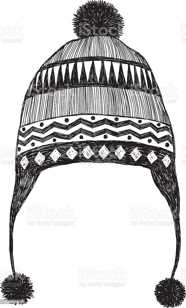 Winter Hat Sketch vector art illustration