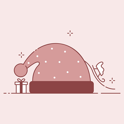 Winter hat, sleigh and gift winter festive composition. Christmas or new year flat illustration.