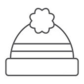 Winter hat thin line icon, clothing and warm, cap sign, vector graphics, a linear pattern on a white background.