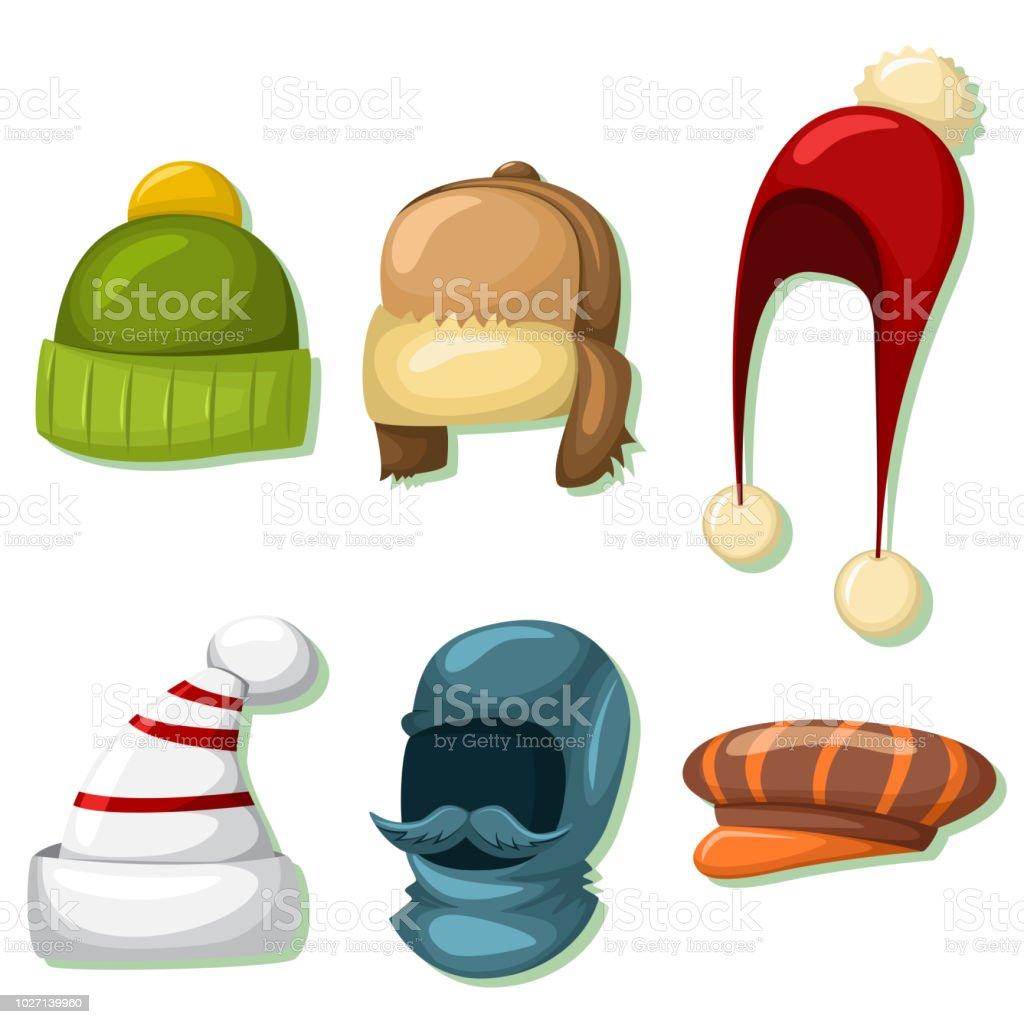 Ilustración de Invierno Sombreros Y Gorras Para Hombres Y Mujeres ...