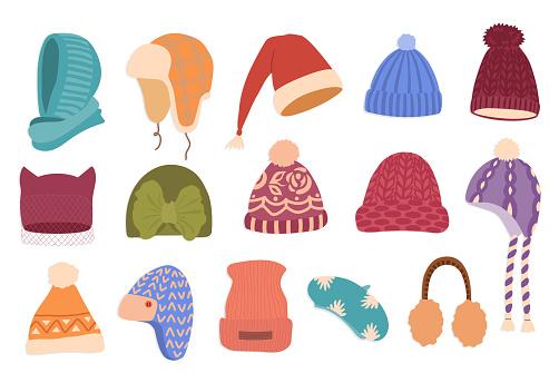 Winter hats hand drawn color vector illustration set