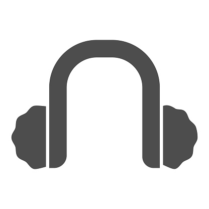 Winter headphones solid icon, Christmas concept, Earmuffs sign on white background, Winter headwear headphones icon in glyph style for mobile concept and web design. Vector graphics.