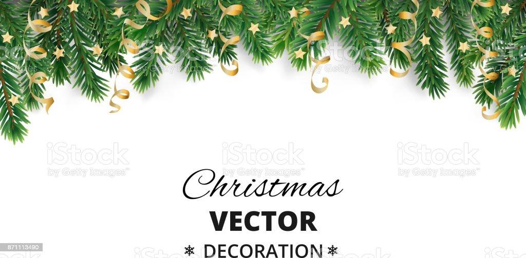 冬の休日の背景。クリスマス ツリーの枝や飾り枠線です。 ロイヤリティフリー冬の休日の背景クリスマス ツリーの枝や飾り枠線です - お祝いのベクターアート素材や画像を多数ご用意
