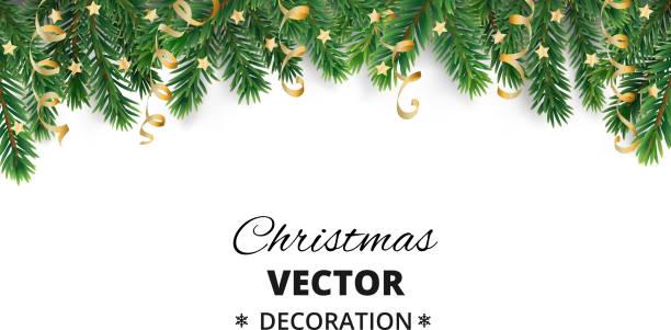 bildbanksillustrationer, clip art samt tecknat material och ikoner med vinter semester bakgrund. bård med julgran grenar och ornament. - christmas decoration golden star