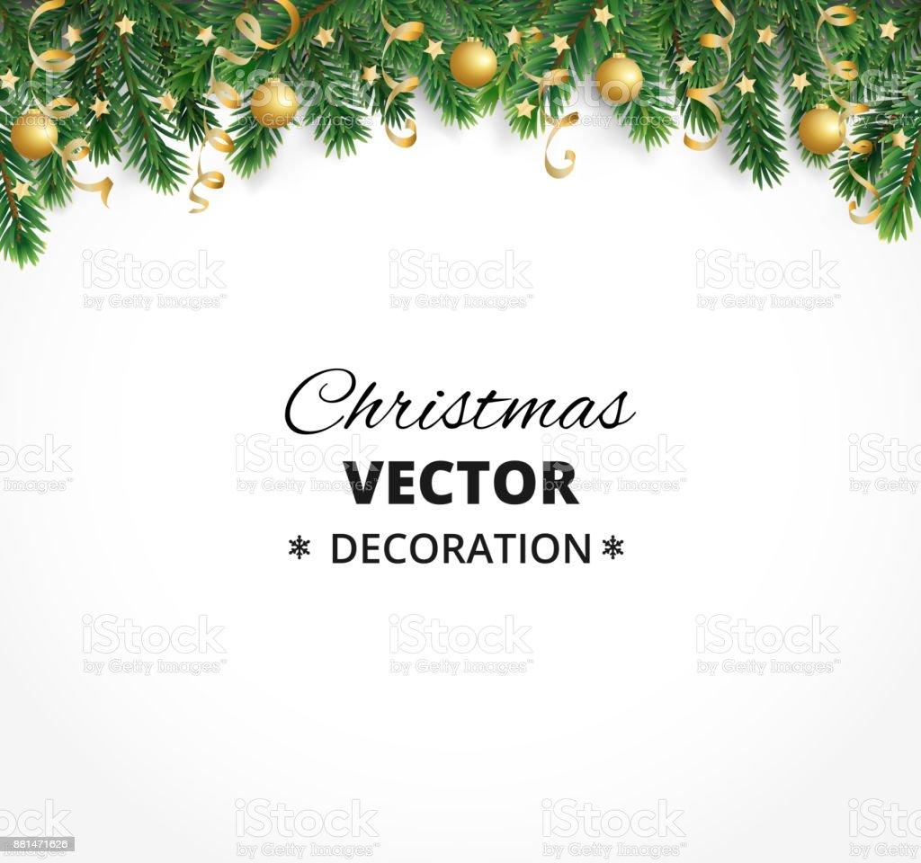 Fundo de férias de inverno. Fronteira com galhos de árvore de Natal. Garland, quadro com enfeites, fitas de suspensão - ilustração de arte em vetor