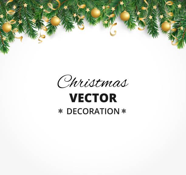 winter urlaub hintergrund. grenze mit weihnachtsbaum verzweigt. garland, rahmen mit hängenden kugeln, luftschlangen - ferien und feiertage stock-grafiken, -clipart, -cartoons und -symbole