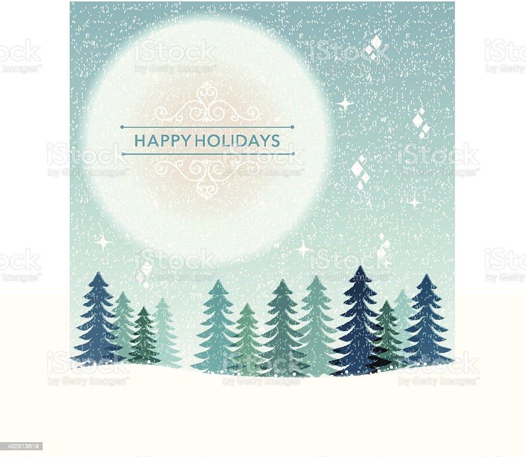 Winter Holiday background - snowing night vector art illustration