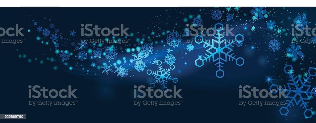Winter Holiday Banners - Blue Snowflakes – Vektorgrafik