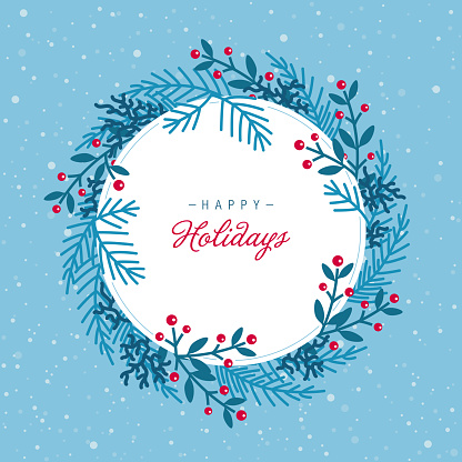 Winter holiday blank round frame background