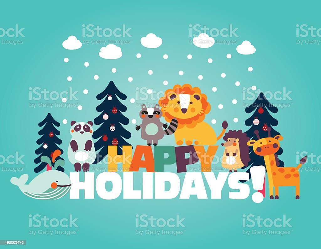 winter holiday card with funny cute animals and christmas trees