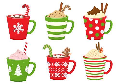Winter holiday cups with drinks. Mugs with hot chocolate, cocoa or coffee, and cream. Gingerbread man cookie, candy cane, cinnamon sticks, marshmallows. Vector