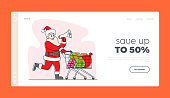 Winter Holiday Discount Landing Page Template. Santa Claus with Loudspeaker Pushing Shopping Trolley Announcing Christmas Sale. Xmas Character Ad or Congratulation. Linear People Vector Illustration