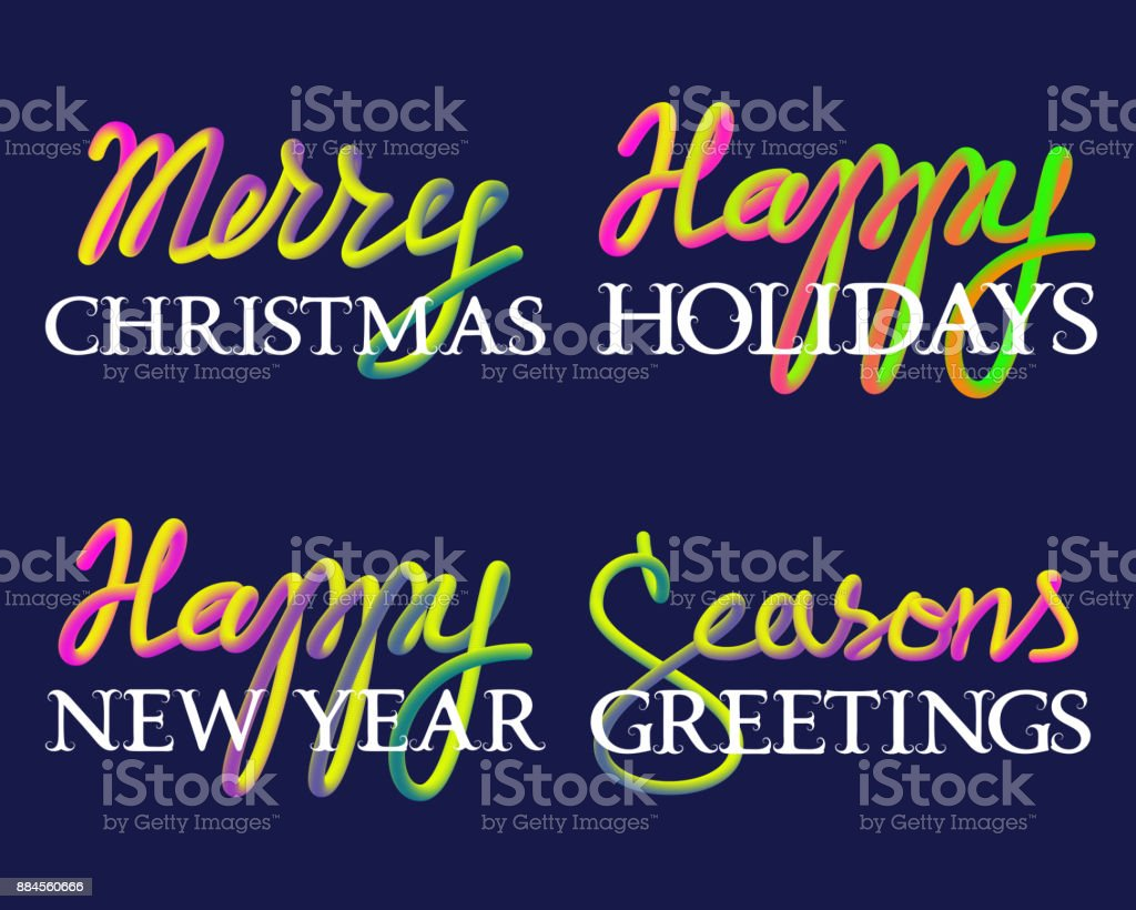 Winter Holiday Fluid Colors And White Lettering Set Merry Christmas