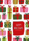 Winter Holiday greeting Cards with gift boxes. Stock illustration