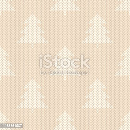 Winter Holiday Knitted Pattern. Christmas Trees Ornament. Vector Seamless Wool Knit Texture Imitation.