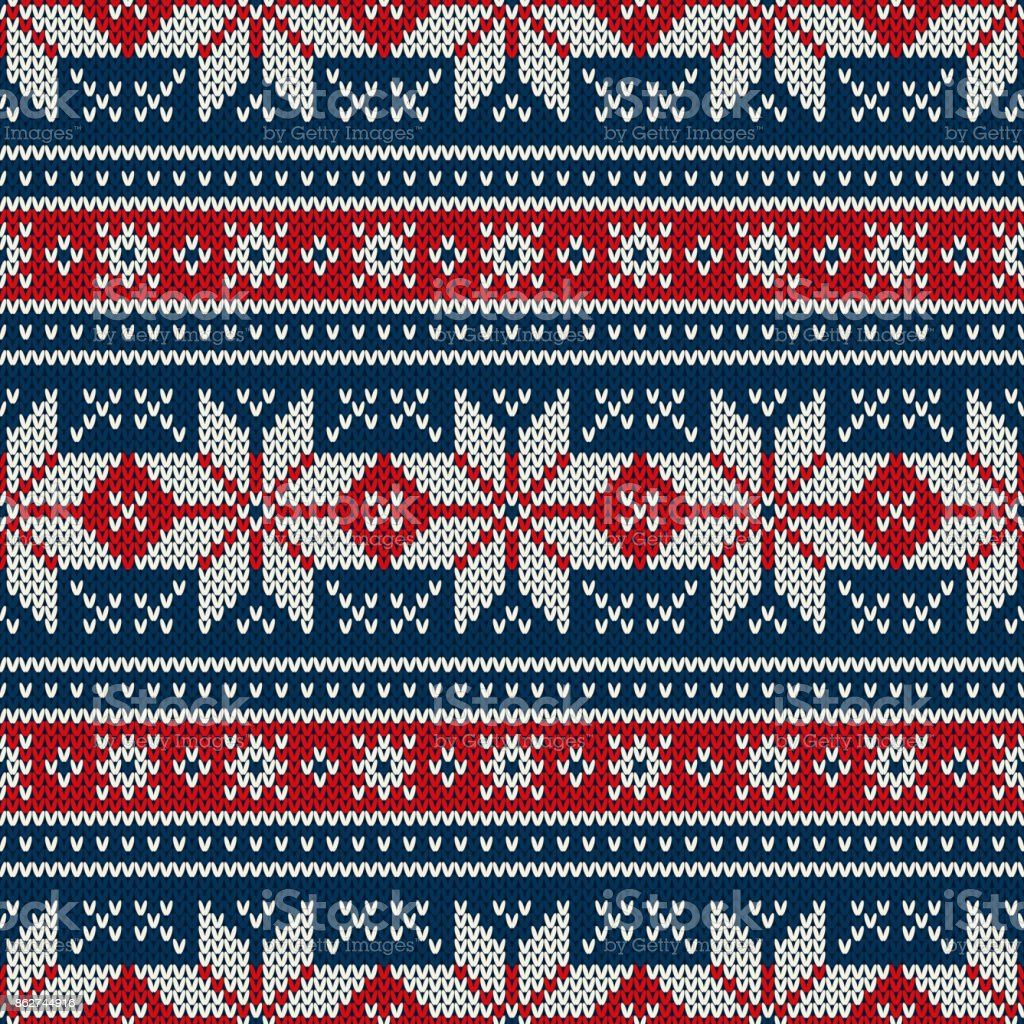 Winter Holiday Knitted Pattern with Snowflakes. Fair Isle Knitting Sweater Design. Seamless Christmas and New Year Background vector art illustration