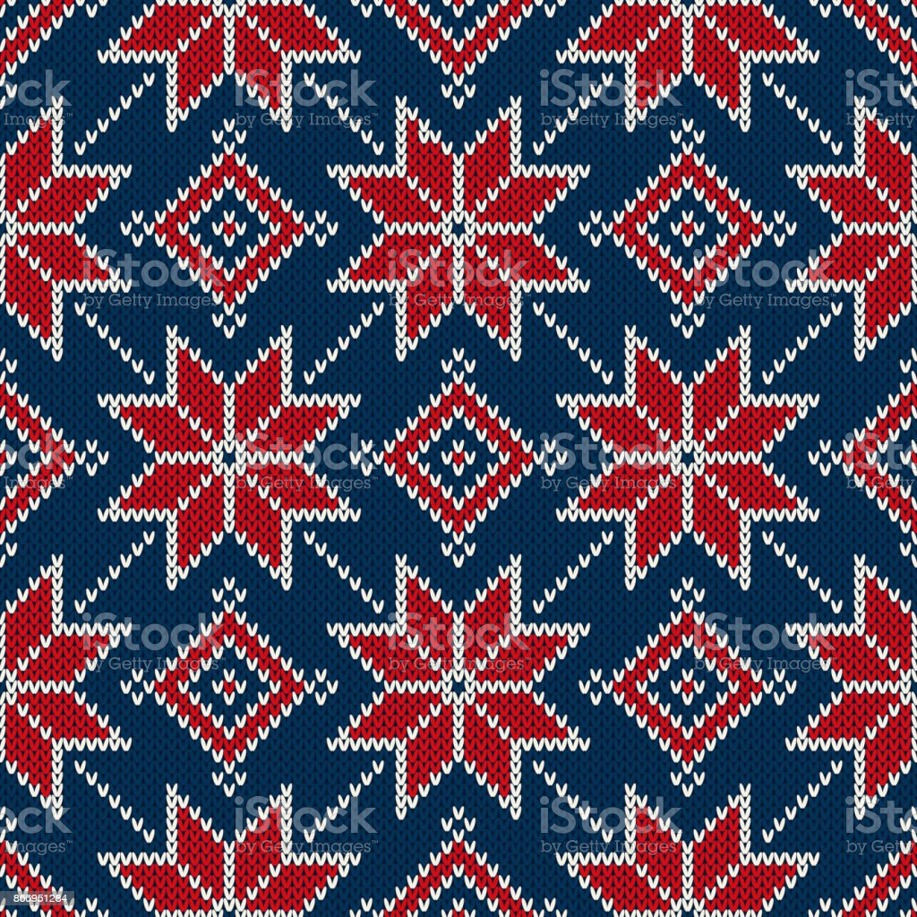 Winter Holiday Knitted Pattern With Snowflakes Fair Isle Knitting ...