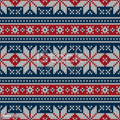 Winter Holiday Knitted Pattern With Snowflakes Fair Isle Knitting