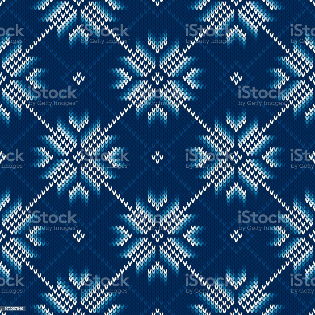 Winter Holiday Knitted Pattern with Snowflakes. Knitting Sweater Design. Seamless Vector Background vector art illustration