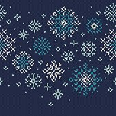 Winter Holiday Knitted Pattern with Snowflakes. Vector Seamless Background