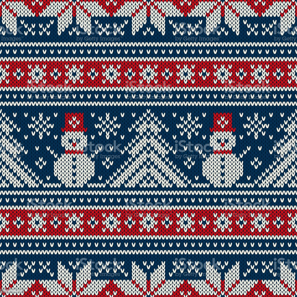 Winter Holiday Knitting Pattern With Snowman And Christmas Tree ...