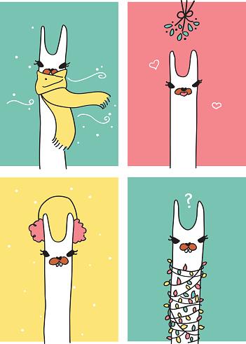 Winter Holiday Llamas