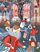 Winter holiday! Merry Christmas and Happy New Year!Vector cute illustration of people on the street in the city and families shopping at the store, at the market for sales. Drawing for background