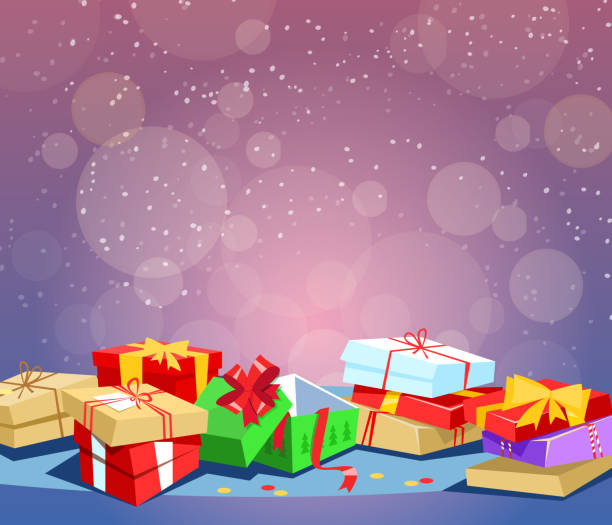 winter holiday or boxing day. - secret santa messages stock illustrations