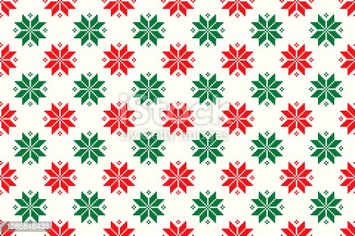 istock Winter Holiday Pixel Pattern. Seamless Christmas Star Ornament. Scheme for Knitted Sweater Pattern Design or Cross Stitch Embroidery. 1285846433