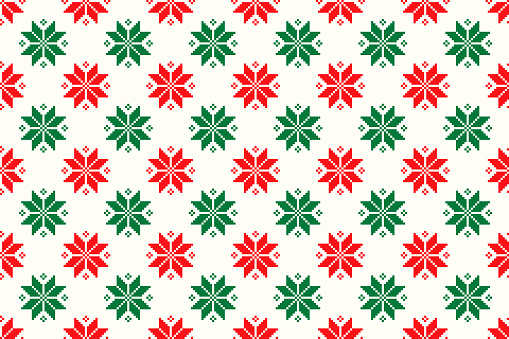 Winter Holiday Pixel Pattern. Seamless Christmas Star Ornament. Scheme for Knitted Sweater Pattern Design or Cross Stitch Embroidery.